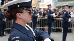 NEW YORK, MAY 2015, Medium Close-Up US Coast Guard Ceremonial Honor Guard On - stock footage