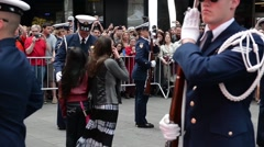 Stock Video Footage of NEW YORK, MAY 2015, US Coast Guard Ceremonial Honor Guard On Times Square