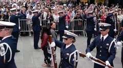 NEW YORK, MAY 2015, US Coast Guard Ceremonial Honor Guard On Times Square - stock footage