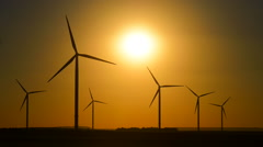 Sunset-Wind energy plant-Wind turbines Stock Footage