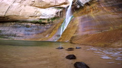 Side view of waterfall flowing, at Lower Calf Creek Falls Stock Footage