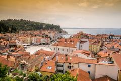 Panorama of beautiful Piran, Slovenia Stock Photos