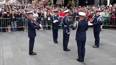Stock Video Footage of NEW YORK, MAY 2015, medium long shot US Coast Guard Ceremonial Honor Guard On