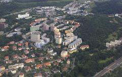 View from aircraft to the area of Prague Stock Photos