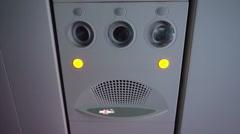 Plane interior. Passenger signage over head Stock Footage