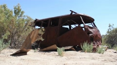 VW bus abandoned low drift shot Stock Footage