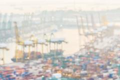 Abstract blur shipping crane cargo background - stock photo