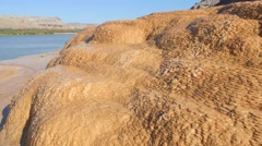 Mineral deposits runoff tight above - stock footage