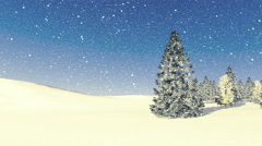 Snowy firs among snowdrifts at snowfall day - stock footage