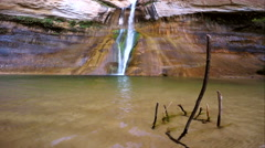 View of waterfall with sticks Stock Footage