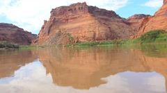 River current and red rocks low - stock footage