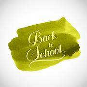 Back To School retro label on watercolor background. Stock Illustration