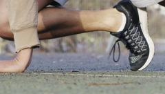 Close up of male legs exercising with mountain climbers Stock Footage