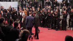 Ryan Gosling and Christina Hendricks on the red carpet, Cannes - stock footage