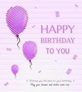Balloon and happy birthday Piirros