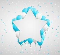 star badge and blue balloons - stock illustration