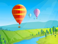 Landscape with balloons - stock illustration