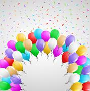 Card with many balloons Stock Illustration