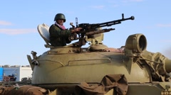 """Tank Backs Down into """"Hull Down"""" Position for Combat with ISIS Jihadist Stock Footage"""