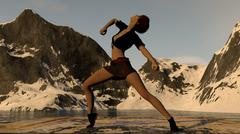 Dancer On Ice With Mountain Range Background Piirros