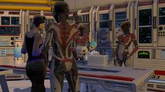 Cyborg Science Fiction Lab With Prisoner - stock illustration