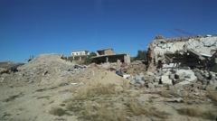 Passing Shot of Rubble and Debris from War with ISIS Stock Footage