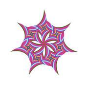 Striped rotated fractal circular symbol design - stock illustration