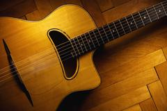 Gypsy Guitar on Parquet Stock Photos