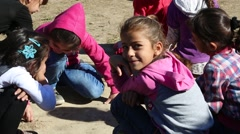 Iraqi Kurdish Children Playing and Smiling at the Camera Stock Footage