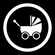 Baby Carriage Rounded Vector Icon Stock Illustration