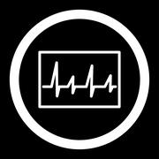 Cardiogram Rounded Vector Icon - stock illustration