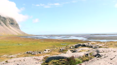 Iceland viking village isolated bay, panoramic camera Stock Footage