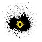 Yellow Oil Icon on Dark  Blot - stock illustration