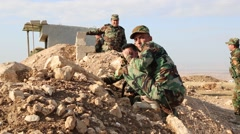Kurdish Soldiers at Outpost Near ISIS held Iraq - stock footage