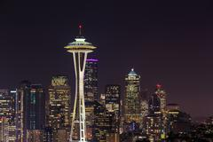 Space Needle at night, Seattle, Washington, USA Kuvituskuvat