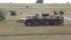 Romania Badabag, May 2015, US Marines Bulgarian Force BTR-70s Light Tank Drive Stock Footage