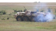 Romania Badabag, May 2015, US Marines Bulgarian Force BTR-70s Light Tank Stand Stock Footage