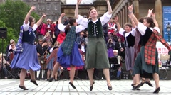 Scottish folk  woman dancers.Wearing  kilth and traditional clothes Stock Footage