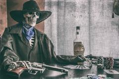 Old West Poker Skeleton Vintage - stock photo