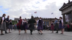 Scottish dancers.Wearing kilth popular and traditional clothing Stock Footage