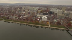 Aerial Along Front Street Harrisburg PA. Stock Footage