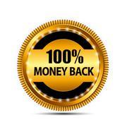 Vector Money Back Guarantee Gold Sign, Label - stock illustration