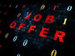 Finance concept: Job Offer on Digital background - stock illustration