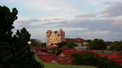 Dulce Nombre de Jesús el Calvario church from rooftop Stock Footage