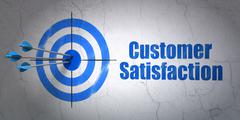 Stock Illustration of Marketing concept: target and Customer Satisfaction on wall background