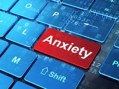 Healthcare concept: Anxiety on computer keyboard background - stock illustration