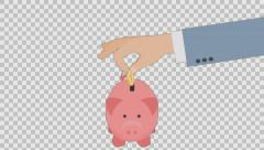 Hand Puts Money In Piggy Bank. Animated scene with Alpha channel  Stock Footage
