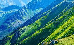 Zigzag path on Summer Tatra Mountain - stock photo