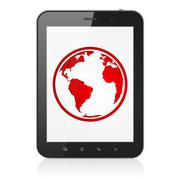 Science concept: Tablet Computer with Globe on display Stock Photos