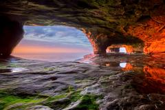 Sea Cave on Lake Superior, Upper Peninsula of Michigan Stock Photos